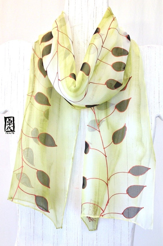Silk Scarf Handpainted, Mothers Day Gift, Gold and Black Leaves Scarf, Pastel Matcha Green Silk Scarf, Silk Chiffon Scarf. 7.5x54 inches.