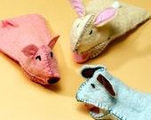 Felt Hand Puppet, Dog puppet, Bunny puppet, Pig Puppet, Fun, Felty, pink pig, blue dog, yellow bunny
