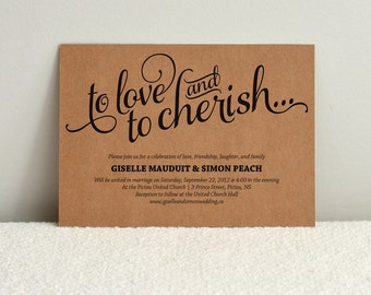 Romantic Script / DIY Kraft Paper Wedding Invitation / DIY Printable PDF Template