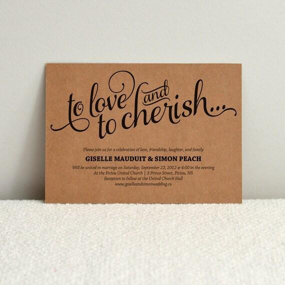 Paper For Diy Wedding Invitations: Romantic Script / DIY Kraft Paper Wedding Invitation / DIY