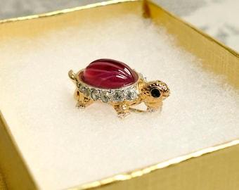 Vintage Coralee Red Turtle Brooch Pin