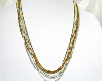 "1970's Multi Chain Necklace, seven chains, 26"", multiple chains, gold and white enamel, casual wear, retro look, summer casual, Excellent"