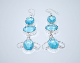 Blue Quartz gemstone crystal spiritual dangle drop earrings with healing properties