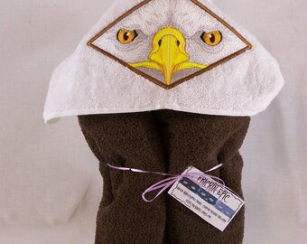 Eagle Face Hooded Bath Towel, Embroidered Hooded Bath Towel with Eagle Face, Bath Towel with Hood