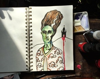 bride of frankenstein - original watercolor painting - illustration - horror - mary shelly - monster art