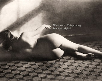 Early 1900s Risqué Nude Female Laying Back View ~ NEW 8x10 Art Print Reproduction