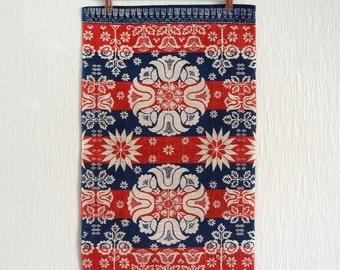 Vintage Stevens Linen Towel / Wall Hanging - Euro Folk Art Design