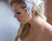 Ivory Bridal Hair Clip, Champagne Feather Wedding Headpiece, Bridal Hair Accessories, Feather hair clip, silver, gold, Crystal Hair Piece