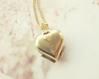 Vintage Multi 4 Heart Locket. Raw Brass Antique Pendant. Simple Minimal Jewelry