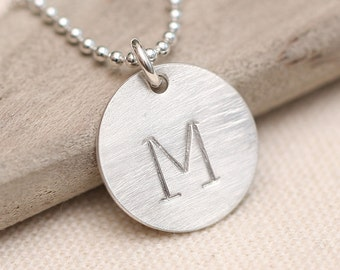 Personalized Necklace, Initial Necklace, Large Initial Necklace, Hand Stamped, Stamped Initial, Sterling Silver Necklace,  Letter Necklace