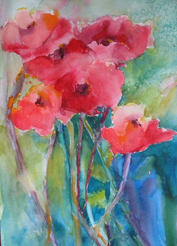 Poppies Watercolor Painting Abstract Art Original Art Red Home Decor    Poppies Watercolor Painting