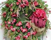 Spring Wreath Summer Wreath Geranium Ranunculus Roses Hydrangea Large Pink Floral Door Decor Decoration Fireplace Wreath Front Door Wreath
