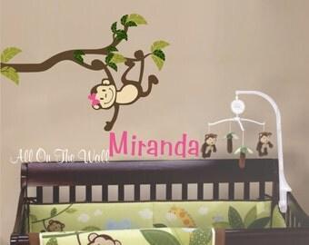 Monkey Wall Decal Baby Girl Nursery Decals Baby Boy Nursery Decals Name Wall Decal Kids Monkey Bedroom Wall Art Monkey Decals Kids Decals
