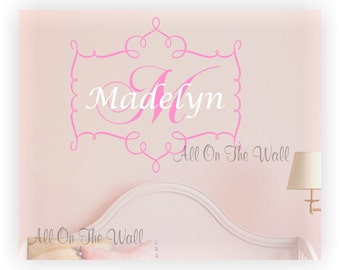 Wall Decal Monogram Baby Girl Name Initial Custom Decals Nursery Vinyl Lettering Frame Shabby Chic Decor