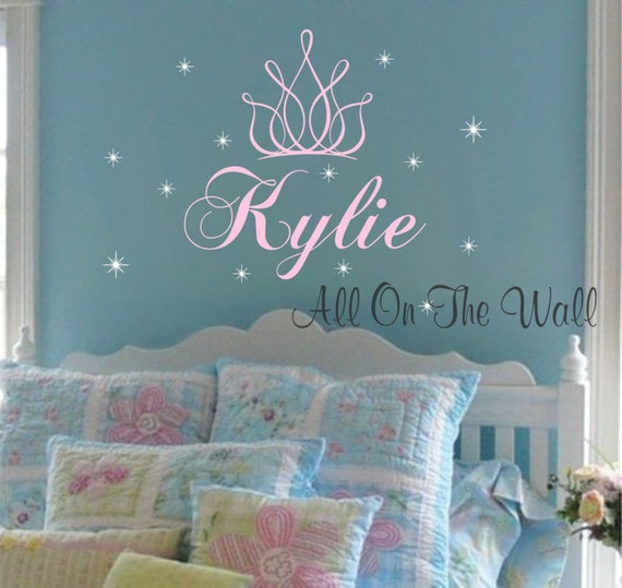 princess crown wall decal girl name nursery decals stars vinyl. Black Bedroom Furniture Sets. Home Design Ideas