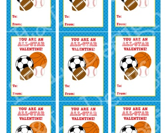 Sports Valentine's Day Cards, Valentine's Day Cards, Printable,Instant Download, Digital