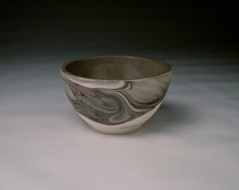 Handmade Porcelain Bowl. Marbled Pottery. Black and White Slip Cast Ceramics. Cereal Bowl. Soup Bowl.