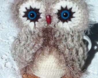 Owl Teapot Cosy,  Hand crocheted in Brown, fawn & cream shiny Ribbon yarn