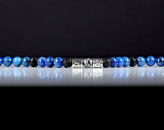 Mens Bracelet Lapis Lazuli Lava Rock and Silk Stone with Stainless Steel Toggle Clasp