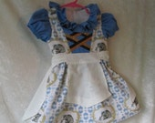 On Sale - Baby Girl's 'Storytime Bear With Fairy' Alpine Dirndl: Dress & Apron, All Cotton Fabric, Size 6 - 12 months old, Ready To Ship Now