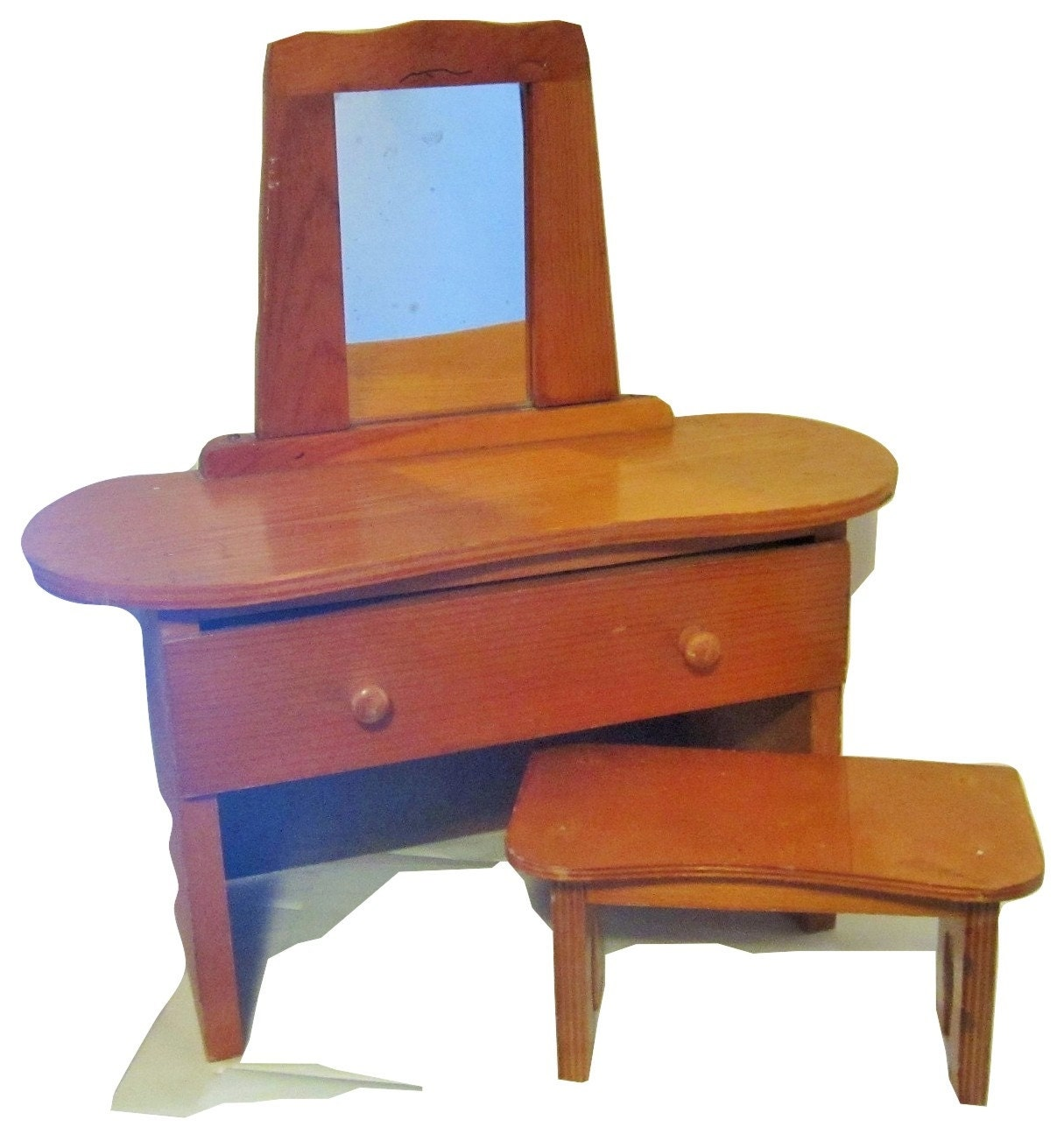 Superb img of Vintage Toy Doll Wood Vanity Dresser With Stool by mstookesmuzes with #1E66AD color and 1215x1295 pixels