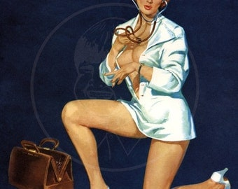 Brulé Pinup (Oh Doctor) - 10x13 Giclée Canvas Print of Vintage Pinup