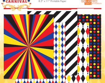 Cirque du Bebe Printable Papers Circus Baby Shower Patterned Paper - DIY Print - Do-It-Yourself - Instant Download