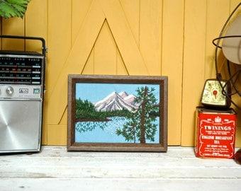 Vintage Mountain Lake Pine Crewel Embroidery Framed Art Wall Hanging Handmade Textile - the Urban Barn