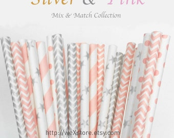 25 PAPER STRAW with free printable DIY Toppers - Silver & Pink - Sales