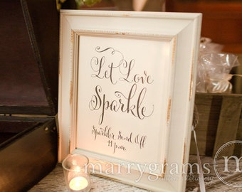 Let Love Sparkle Sign - Sparkler Send Off Sign - Table Card Sign - Wedding Reception Seating Signage - Matching Numbers Available - SS07