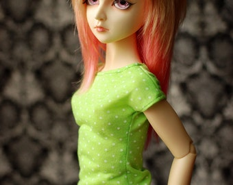 SD Lime Green And White Polka Dot Top For 1/3 BJD