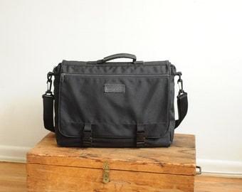 Vintage Black Messenger Bag by Protocol