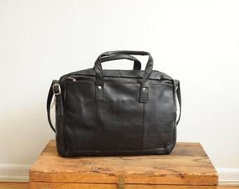Vintage Black Leather Briefcase Messenger Bag