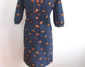 Vintage 1970's Dress l  Navy Floral Poly Dress l Size Large l Vintage Dress