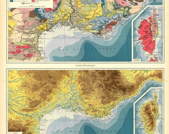 1930s Vintage Map France Mediterranean Coast and Corsica, Relief Map, Geologic Map