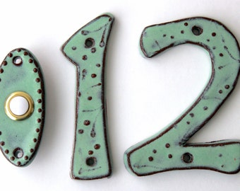 Outdoor House Numbers - Set of 2 - Ceramic Letters - Aqua Mist - MADE TO ORDER