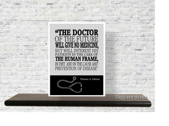 Beautiful Printable Quote, Doctors Office Decor, Gift For Doctors, Thomas Edison  Quote, Wall Art, Inspirational, Medical Doctor Gift