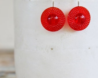 Earring Upcycled Vintage Antique Czech Glass Button Sterling Silver Jewellery Australia Red