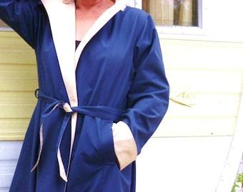 Rain Coat- Reversible Rain Coat- Cream / Navy- Mackintosh- Trench Coat- Classic Topcoat -Raincoat