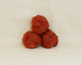 Needle felting wool batting in Topaz, wool batting, felting roving supplies, fleece wool batting in Topaz, orange wool, wool for spinning,