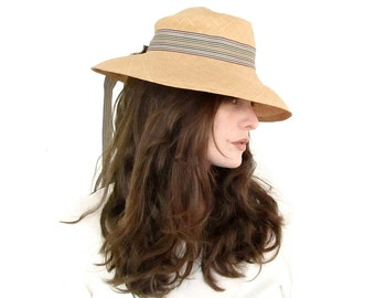 Vintage Straw Hat with Wide Brim and Ribbon