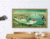 Niagara poster- Panoramic map - Air balloons over Niagara Falls -  Bird's eye view -  RETRO print - Niagara Falls poster