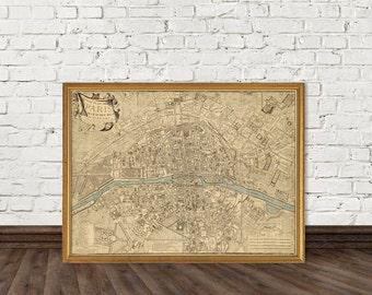 Map of Paris and surroundings - Plan de Paris, ses faubourgs et ses environs-  Fine print