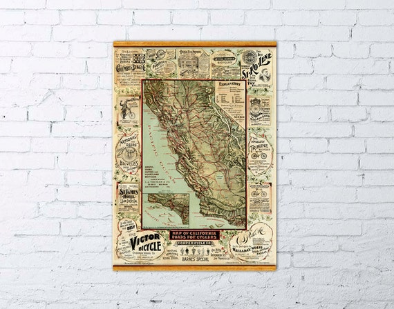 Map of California roads for cyclers -  Decorative map  with business advertise
