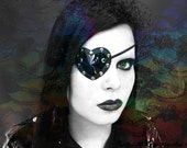 Black Heart Shaped Eye Patch Shiny PVC