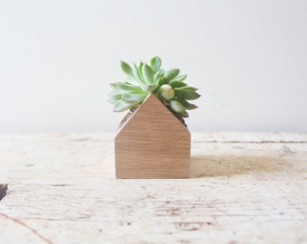 Mini House Planter Box - Herb Succulents Wooden Box Oak Container Succulent Planter Pot Wood Planter Centerpiece Air Plant Natural