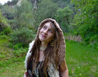 Crochet Slouchy Gypsy Hood - Vintage Mauve. Forest. Fairy. Earthtones. Boho. Festival Fashion. Summer Hood. Fringe. Hippie. Handmade. Lace.
