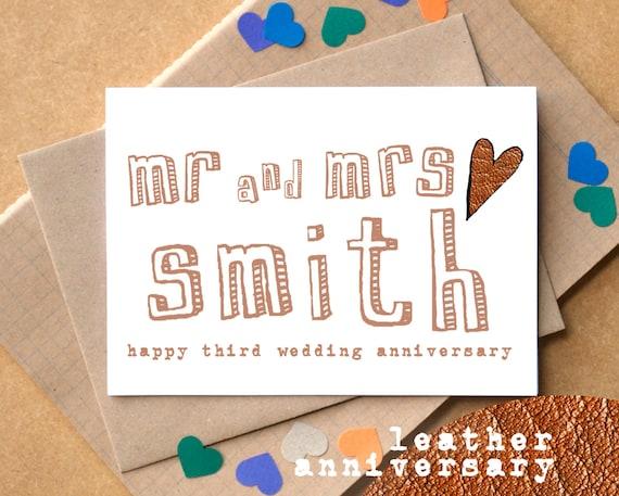 third anniversary card leather anniversary card