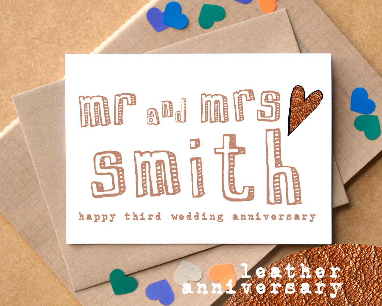 What Is 3rd Wedding Anniversary Gift: Third Anniversary Card Leather Anniversary Card