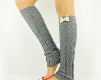 GREY Leg Warmers Bow Boot socks footless socks grey boot socks knit leg warmers light grey socks ivory crochet leg warmers tall boot socks